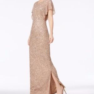 Adrianna Papell Sequin Beaded Gown
